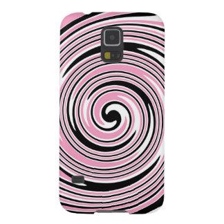 Pink and black pinwheel swirl design galaxy s5 cover
