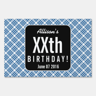 PINK and BLACK PLAID Any Year Birthday Party B03 Sign