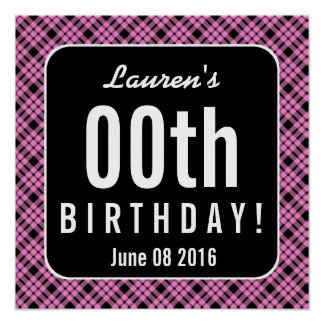 PINK and BLACK PLAID Any Year Birthday Party P03A Poster