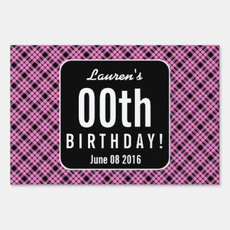 PINK and BLACK PLAID Any Year Birthday Party P03C Sign