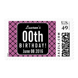 PINK and BLACK PLAID Any Year Birthday Party P03M Postage