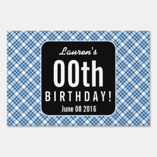 PINK and BLACK PLAID Any Year Birthday Party P03Z Yard Sign