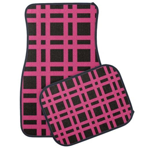 Pink And Black Plaid Car Mats Floor Mat