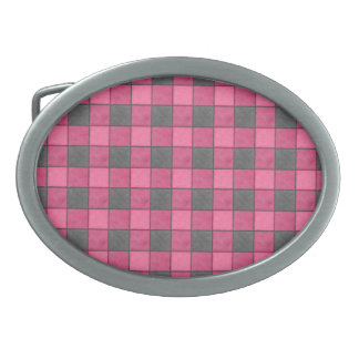 Pink and Black Plaid Check Belt Buckle