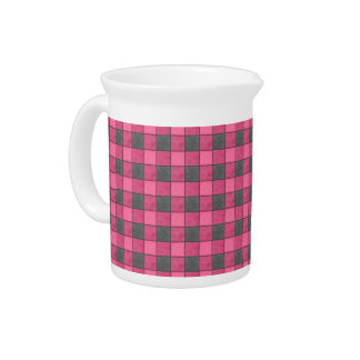 Pink and Black Plaid Check Pitcher