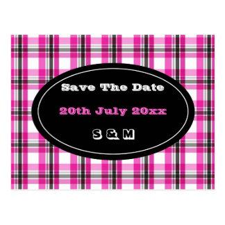 Pink and black plaid pattern postcard
