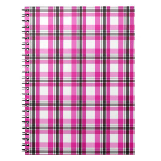 Pink and black plaid pattern spiral notebook