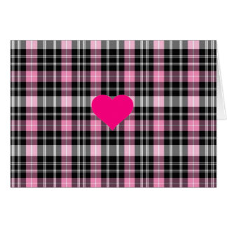 Pink and Black Plaid with heart detail Card