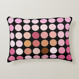 Pink and Black Polka Dot Accent Pillow
