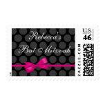 Pink and Black Polka Dot Bow Bat Mitzvah Postage Stamp