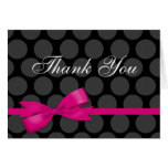 Pink and Black Polka Dot Bow Thank You Note Card