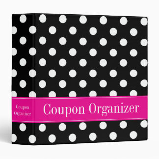 Pink and Black Polka Dot Coupon Organizer Binder