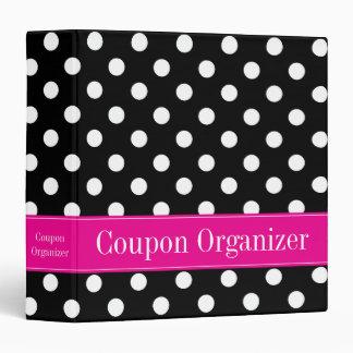 Pink and Black Polka Dot Coupon Organizer Vinyl Binder