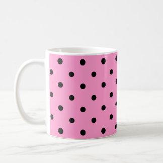 Pink and Black Polka Dot Pattern. Coffee Mug