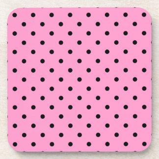 Pink and Black Polka Dot Pattern. Drink Coaster