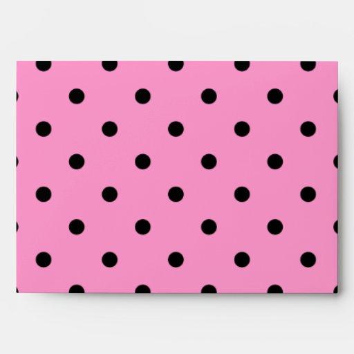 Pink and Black Polka Dot Pattern. Envelope