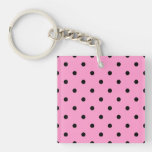 Pink and Black Polka Dot Pattern. Acrylic Keychains