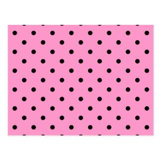 Pink and Black Polka Dot Pattern. Postcard