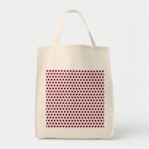 Pink and Black Polka Dot Pattern. Spotty. Canvas Bags