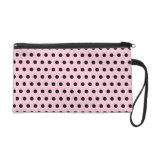 Pink and Black Polka Dot Pattern. Spotty. Wristlet Clutches