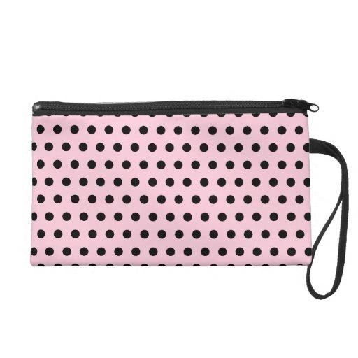 Pink and Black Polka Dot Pattern. Spotty. Wristlet Clutches