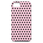 Pink and Black Polka Dot Pattern. Spotty. iPhone 5 Cover