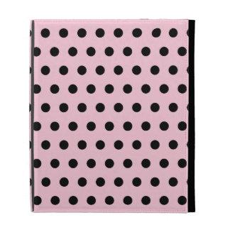 Pink and Black Polka Dot Pattern. Spotty. iPad Folio Cover