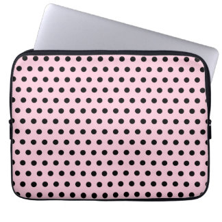 Pink and Black Polka Dot Pattern. Spotty. Computer Sleeve