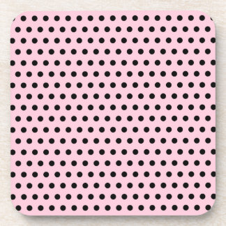 Pink and Black Polka Dot Pattern. Spotty. Drink Coasters