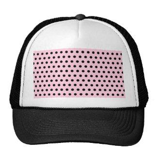 Pink and Black Polka Dot Pattern. Spotty. Mesh Hats