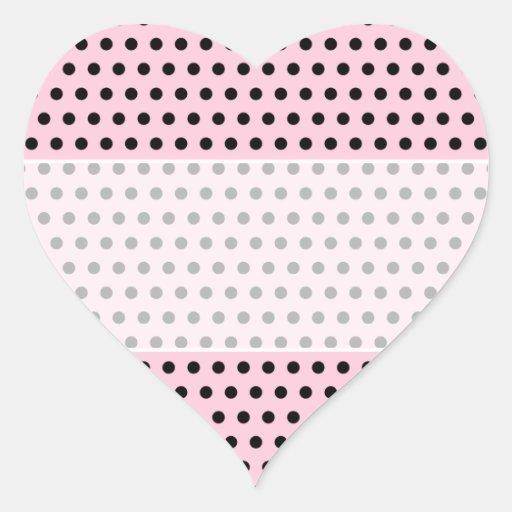 Pink and Black Polka Dot Pattern. Spotty. Heart Sticker