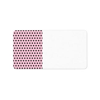Pink and Black Polka Dot Pattern. Spotty. Address Label