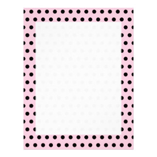 Pink and Black Polka Dot Pattern. Spotty. Letterhead