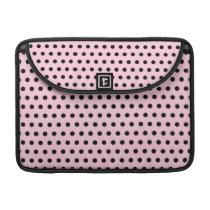 Pink and Black Polka Dot Pattern. Spotty. MacBook Pro Sleeve