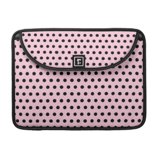 Pink and Black Polka Dot Pattern. Spotty. MacBook Pro Sleeve
