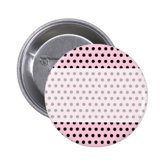Pink and Black Polka Dot Pattern. Spotty. Pinback Button