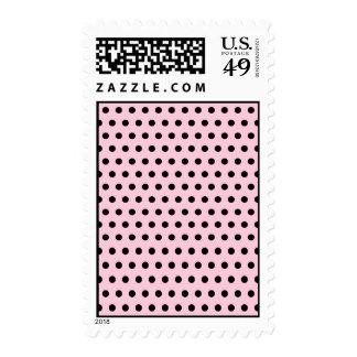Pink and Black Polka Dot Pattern. Spotty. Postage Stamps