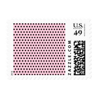 Pink and Black Polka Dot Pattern. Spotty. Stamps