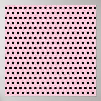 Pink and Black Polka Dot Pattern. Spotty. Poster