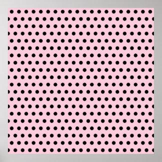 Pink and Black Polka Dot Pattern. Spotty. Print