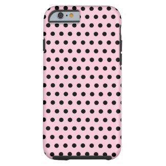 Pink and Black Polka Dot Pattern. Spotty. Tough iPhone 6 Case