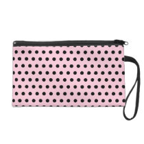 Pink and Black Polka Dot Pattern. Spotty. Wristlet
