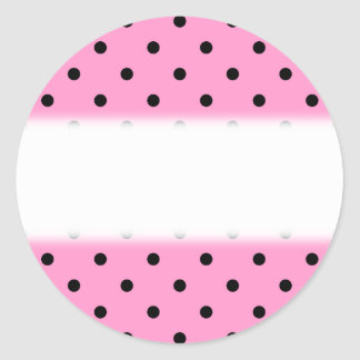 Pink and Black Polka Dot Pattern. Classic Round Sticker
