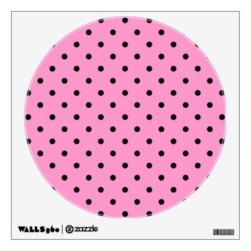 Pink and Black Polka Dot Pattern. Wall Skins