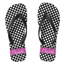 Pink and Black Polka Dot Pattern with Monogram Flip Flops