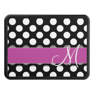 Pink and Black Polka Dot Pattern with Monogram Hitch Covers