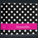 """Pink and Black Polka Dot Personalized School 3 Ring Binder<br><div class=""""desc"""">A trendy black and white polka dot pattern with a hot pink accent is featured on this school binder that you can easily personalize. Don&#39;t see the color you want? Use the contact link above to request your free color combination. BINDER DOES NOT COME WITH PHOTO/PAGE INSERTS</div>"""