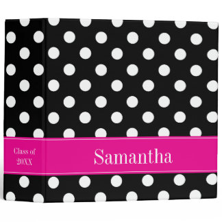 Pink and Black Polka Dot Personalized School 3 Ring Binder