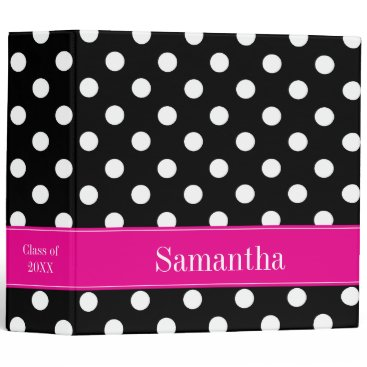Beach Themed Pink and Black Polka Dot Personalized School 3 Ring Binder