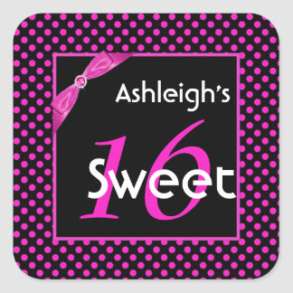 Pink and Black Polka Dot Sweet 16 Square Sticker